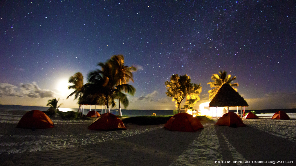 Rendezvous Caye at night - photo by Tim Nolan