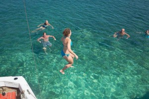 Jumping into the beautiful blue sea!
