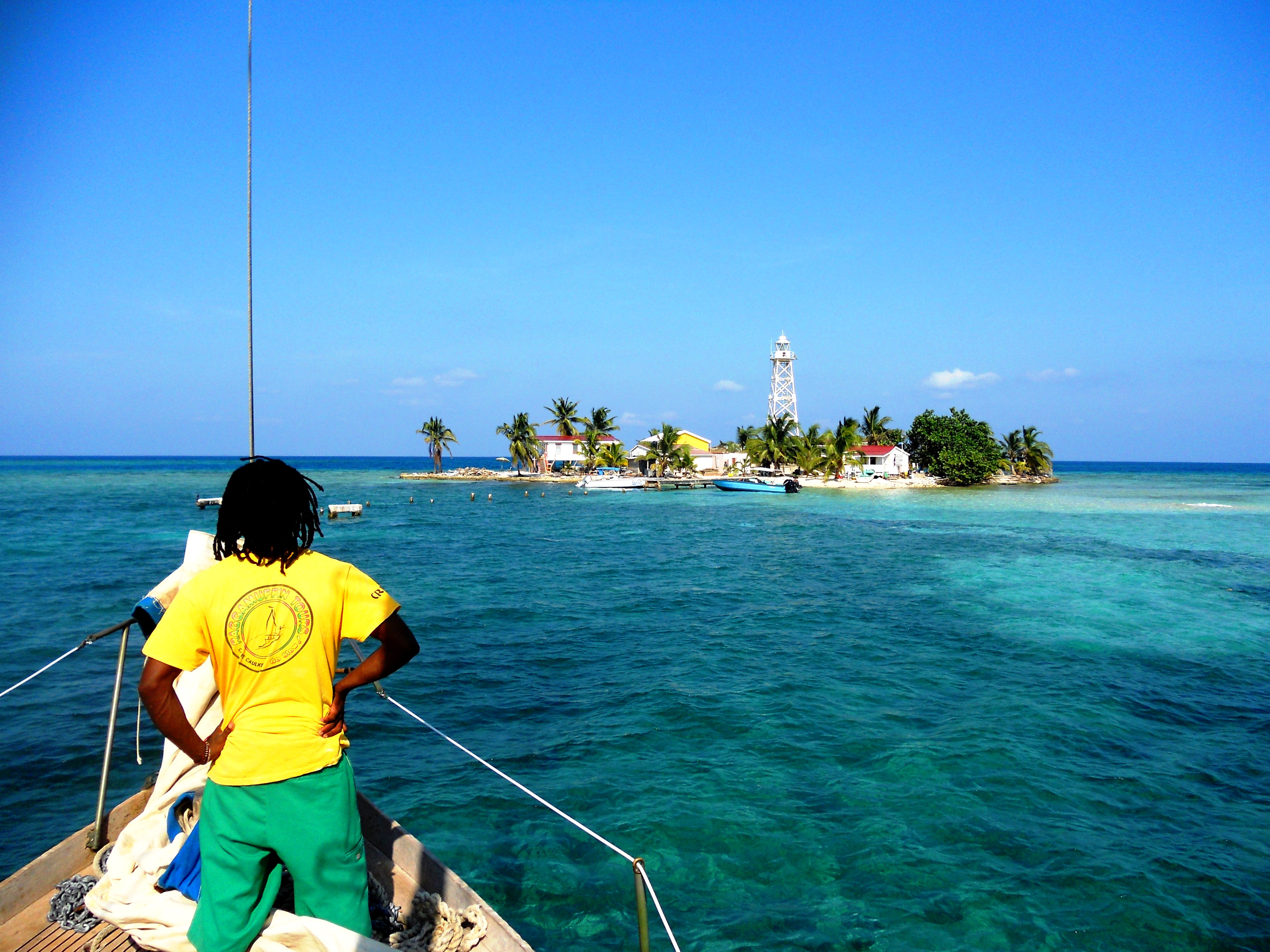 Arriving at English Caye by Erin Mutrie