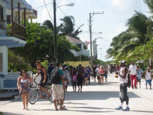 Bustling streets on Caye Caulker