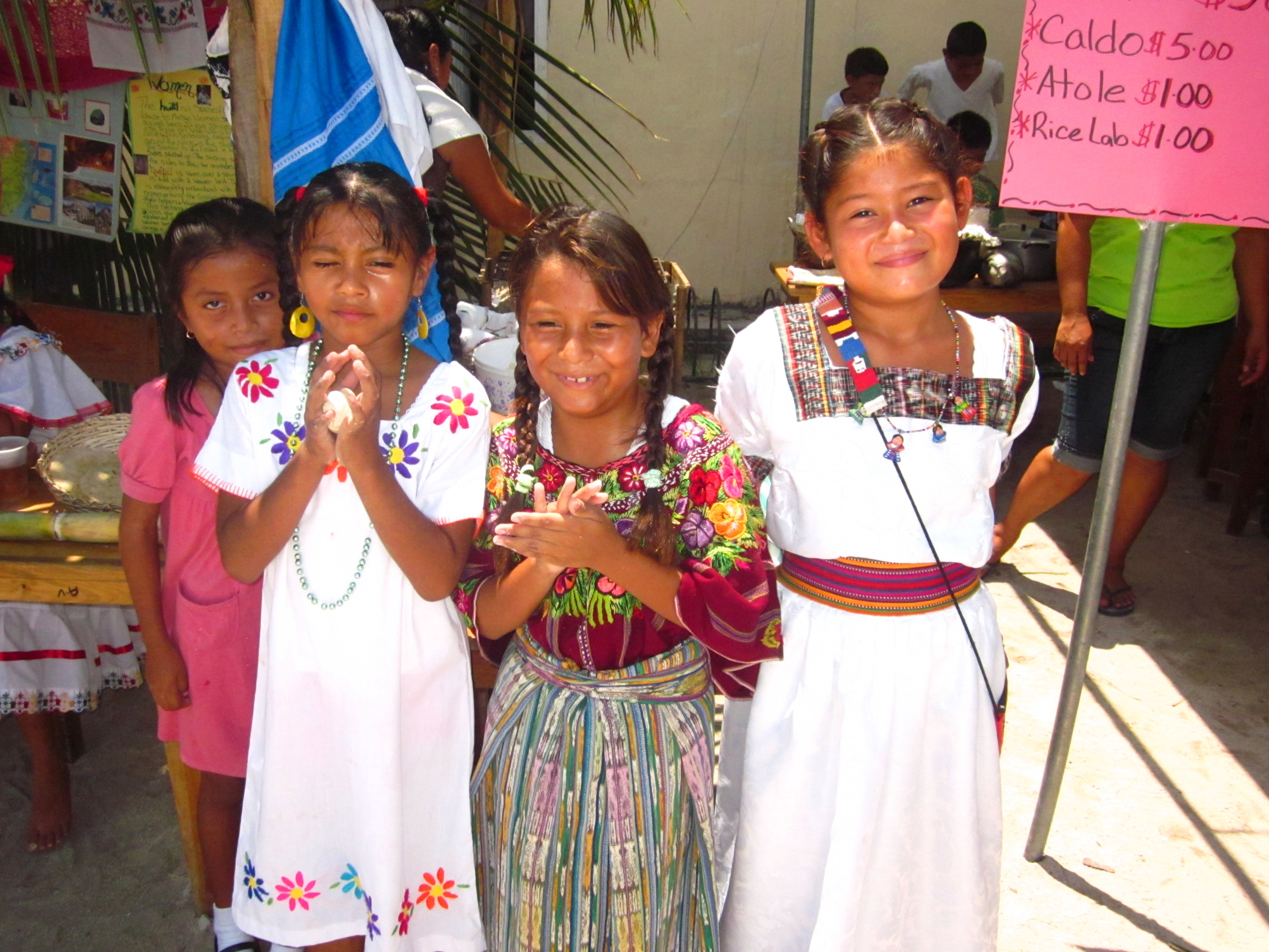 School girls dresses in traditional Maya outfits.